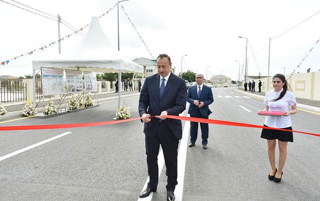 İlham Əliyev yeni yolun açılışını etdi