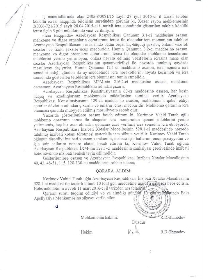 Azərbaycanda kredit götürənə zamin duran həbs edildi