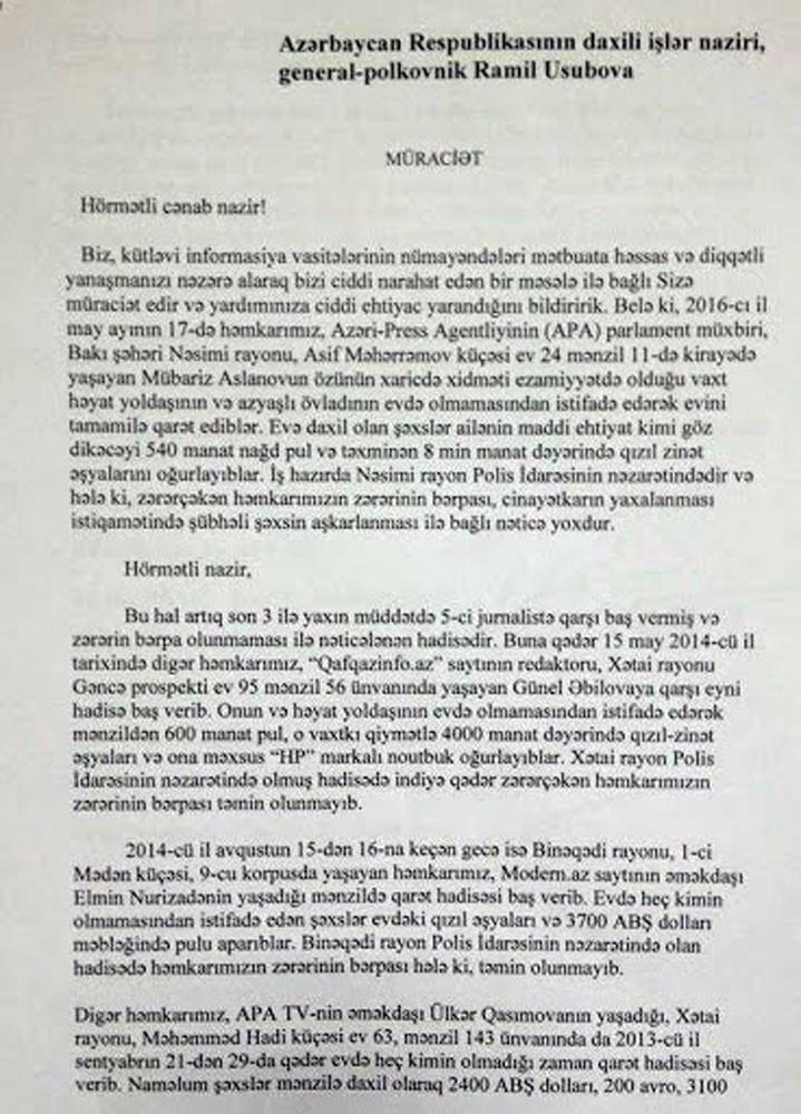 KİV nümayəndələrindən Ramil Usubova -  Müraciət