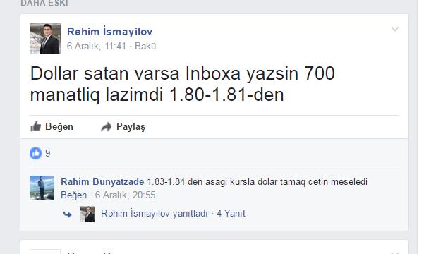 """Feysbukda  dolların """"qara bazar""""ı yaradılıb"""