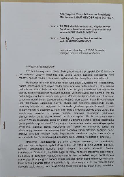 """""""Bina qəsdən yandırılıb""""  -  Sakinlər prezidentə müraciət etdi"""