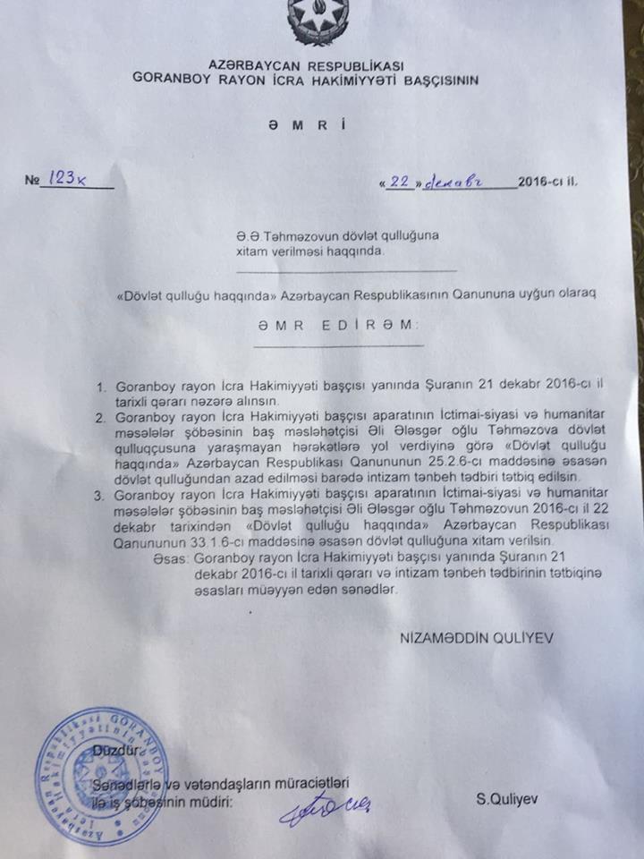 """İcra başçısı baş məsləhətçisini işdən çıxardı -  """"Mənə şər atıb"""""""