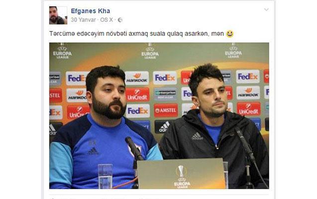 """""""Qarabağ""""ın tərcüməçisindən tərbiyəsizlik -  Foto"""
